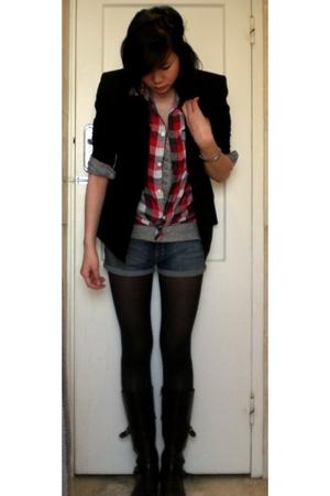 grey tank top Bershka shirt - boots vintage boots - black blazer vintage blazer