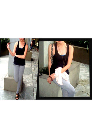 black top - gray leggings - gold necklace - f21 intimate