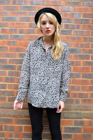 camel leopard print GlowVintage shirt - black black cotton next leggings