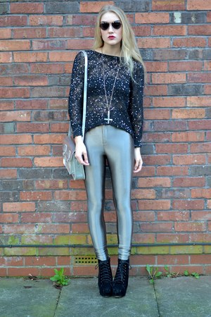 heather gray disco pants Glamorous leggings - black sequinned Chicova jumper