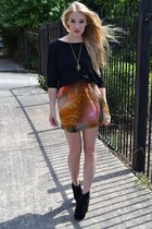light brown china doll boutique skirt - black so you shoes boots