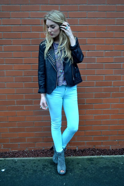 black Goldie London jacket - gray Ellatino boots - aquamarine FM Boutique jeans