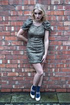 nude new look heels - bronze AX Paris dress - silver Primark socks