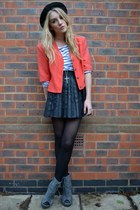 coral vintage jacket - gray Ella Tino boots - black bowler hat H&M hat