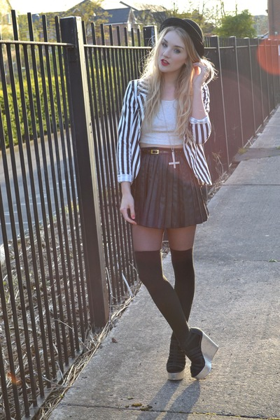 black bank blazer - black Primark skirt - silver metallic wedges bank wedges