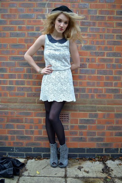 gray Ella-Tino boots - cream Vero Moda dress - black bowler hat H&M hat