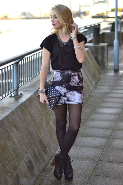 light purple lovely sally skirt - black Fashion Union boots