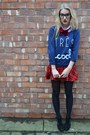 Red-republic-dress-navy-only-jumper-black-studded-wedges-ella-tino-heels
