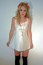 cream lace nightie thrifted vintage dress - black over the knee F&F socks - oran
