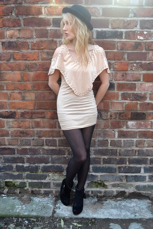 neutral The Pokey Hat dress - black Primark boots - black bowler hat H&amp;M hat