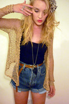 navy cut off denim thrifted vintage shorts - yellow Primark scarf