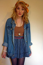 tawny Topshop dress - blue denim oversized thrifted jacket - carrot orange COW v