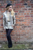 cream crochet shorts OASAP shorts - gold Miss Selfridge jacket