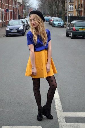 yellow Chicwish skirt - black dotty tights Primark tights