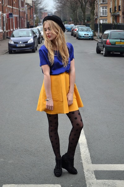yellow Chicwish skirt - black dotty tights Primark tights