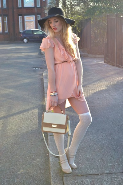 cream chic bag - peach TFNC LONDON dress - black floppy hat new look hat