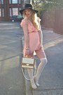Peach-tfnc-london-dress-black-floppy-hat-new-look-hat-cream-chic-bag