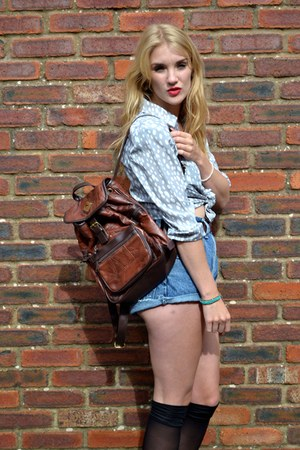 brown GlowVintage bag - blue denim cut offs thrifted vintage shorts