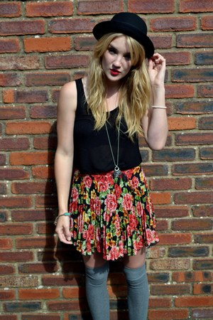 red asos skirt - black felt bowler H&M hat - heather gray Primark socks