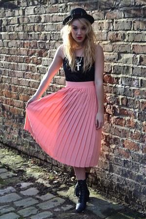 black vintage boots - black bowler hat H&M hat - coral GlowVintage skirt