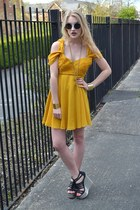 gold Fashion Union bracelet - mustard virgos lounge dress - black H&M sunglasses