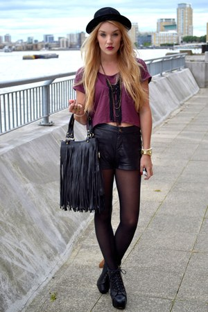 black OASAP bag - black leather shorts Glamorous shorts