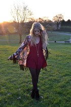 maroon Motel Rocks romper - black Primark boots - black The Pokey Hat jacket