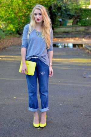 yellow kandee shoes bag - blue vintage jeans - yellow kandee shoes heels