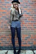 brown vintage blouse - black bowler hat H&M hat - silver Motel Rocks shorts