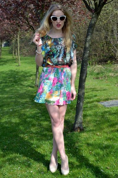 Primark sunglasses - Minkie top - bank heels - GlowVintage skirt