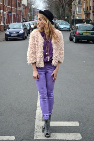 cream Fashion Union jacket - gray Ellatino boots - light purple new look jeans