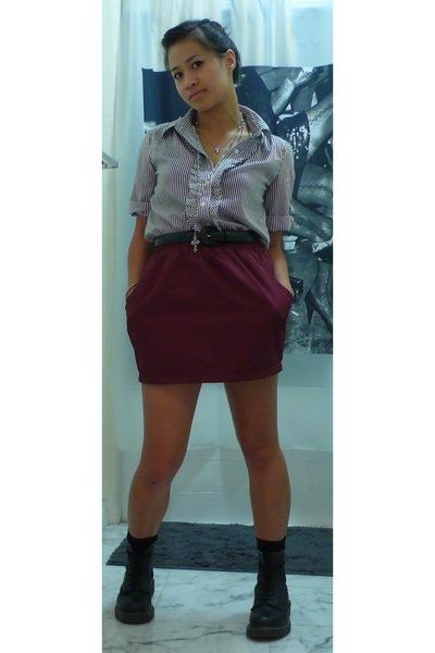 Forever21 shirt - American Apparel skirt - doc martens boots - socks - Forever21
