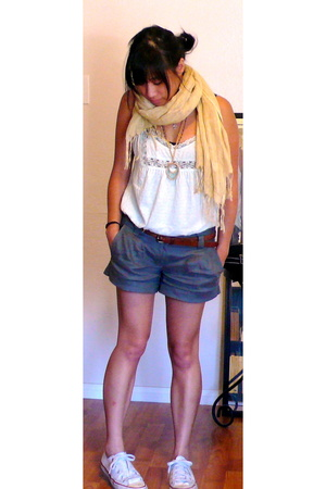 top - scarf - shorts - Converse shoes