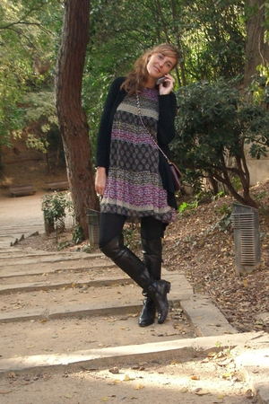 dress - purse - boots - leggings
