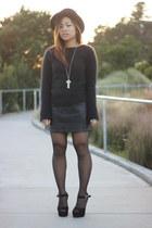 black vintage hat - black Polo Ralph Lauren sweater - dark gray asos tights