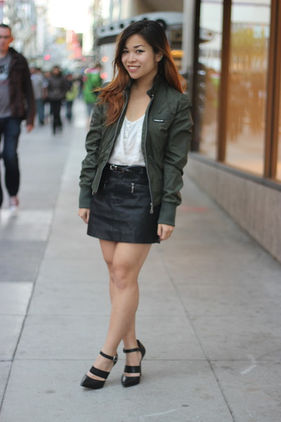 army green Members Only jacket - ivory Forever 21 top - black Forever 21 skirt