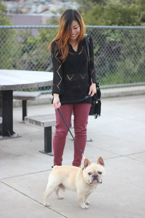 black vintage sweater - maroon Topshop jeans - black Nasty Gal bag