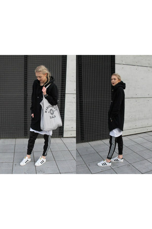 black Adidas pants - white Adidas sneakers - black h&m divided hoodie