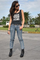 black rome boots - periwinkle BNY jeans - black playboy top