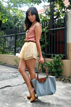 light yellow Mapleberry skirt - sky blue longchamp bag - tawny figliarina heels