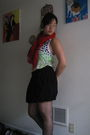 Green-fox-top-black-uo-skirt-gray-tights-red-bcbg-scarf