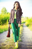 maroon Celine bag - dark green Zara jacket - yellow rachel roy wedges