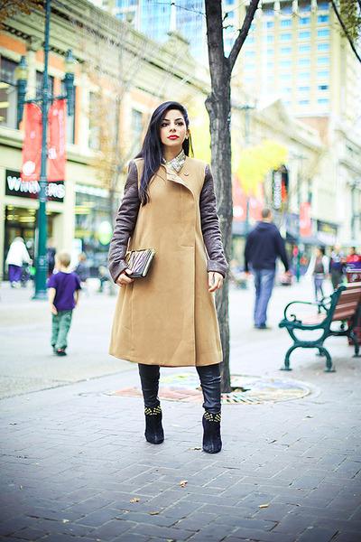camel bcbg max azria coat - black Aldo boots - orange Nine West purse