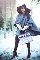 gray vintage cape - black Aldo boots - silver Zara dress