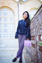 navy Dolce & Gabbana jacket - violet H&M bag - light purple Prada pants