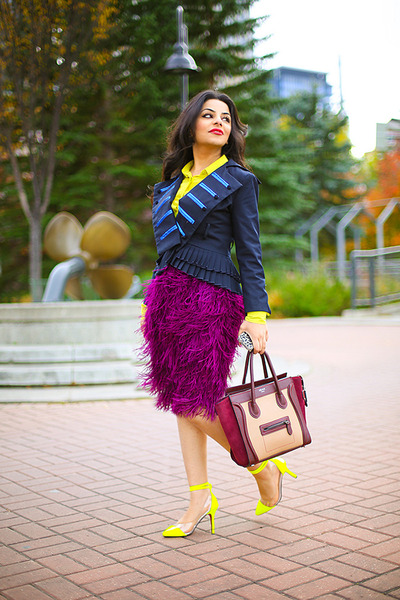 magenta pink tartan skirt - navy Marc by Marc Jacobs jacket - magenta Celine bag