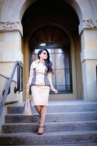 beige Prada bag - tan Choies jacket - beige Zara skirt - neutral Kimberly heels
