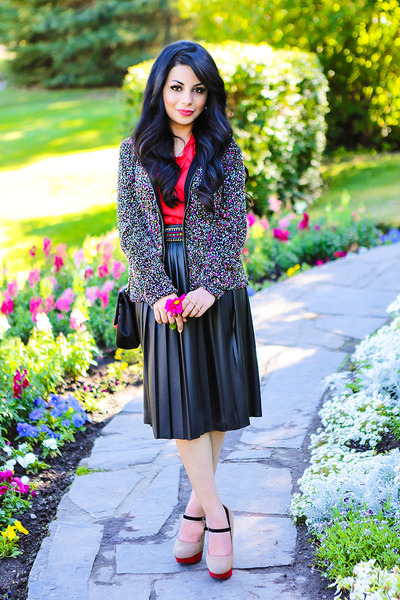 black Zara skirt - crimson Zara jacket - black Love Moschino purse