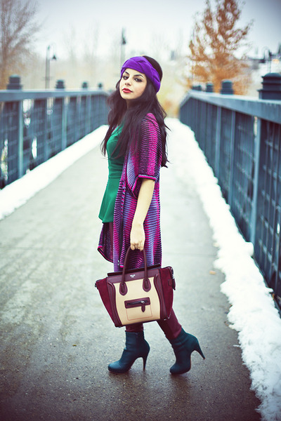 maroon Celine bag - teal H&M boots - maroon faux leather H&M pants