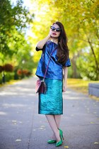 green Nine West heels - amethyst Valentino bag - green Tibi skirt